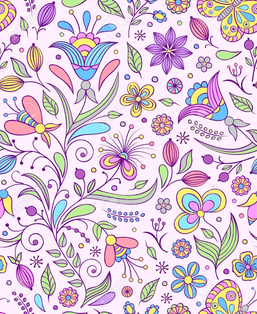 Vector illustration of seamless pattern with abstract flowers Floral background Stock Vector - 17062635