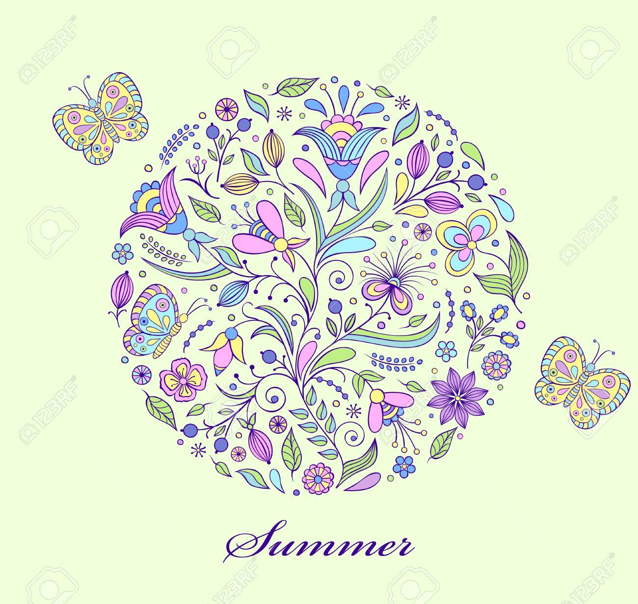 Vector illustration of floral hand drawn colorful pattern Stock Vector - 17062630