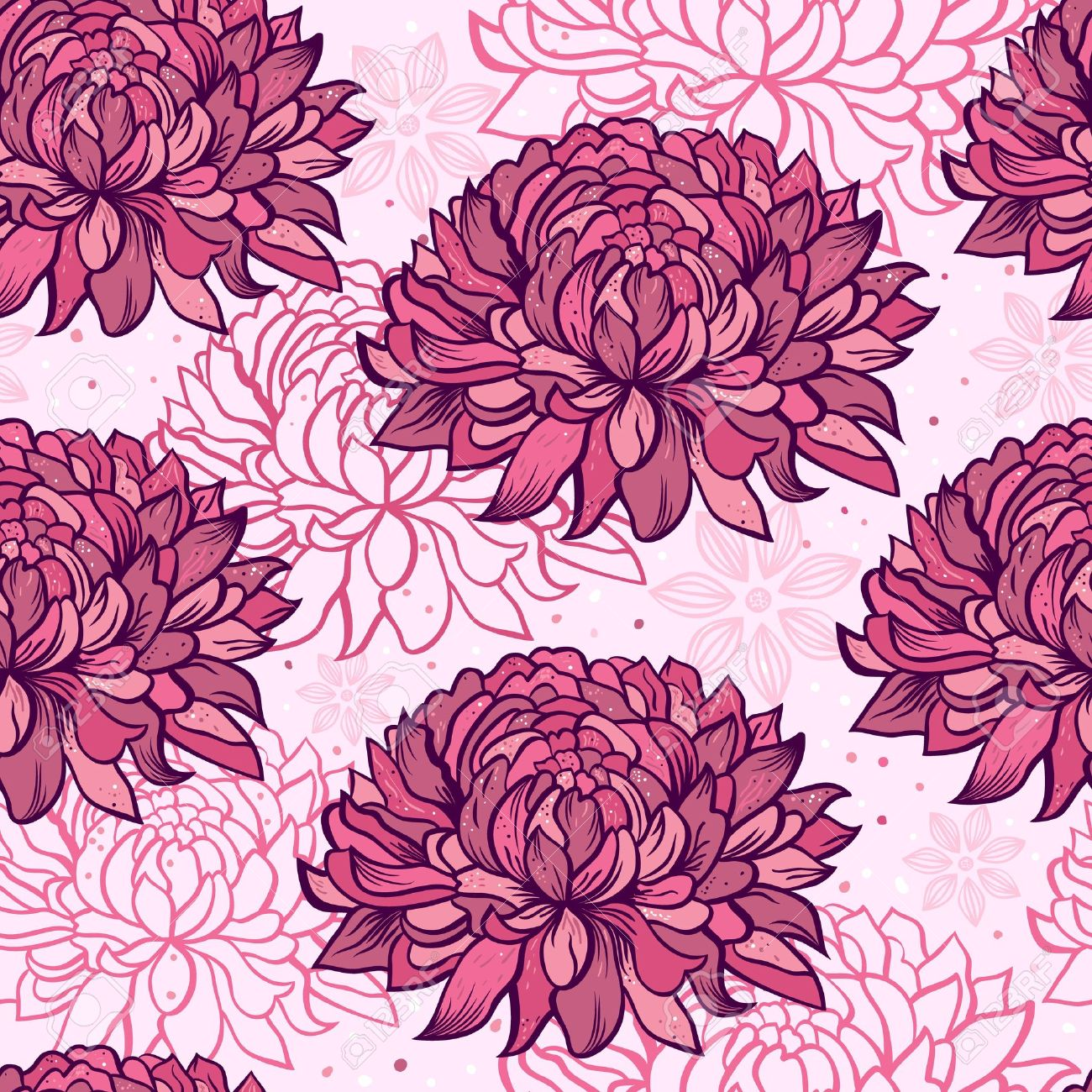 Pink floral seamless vector background floral hrysanthemum seamless - Illustration Of Seamless Pattern With Hand Drawn Chrysanthemums Stock Vector 17336046