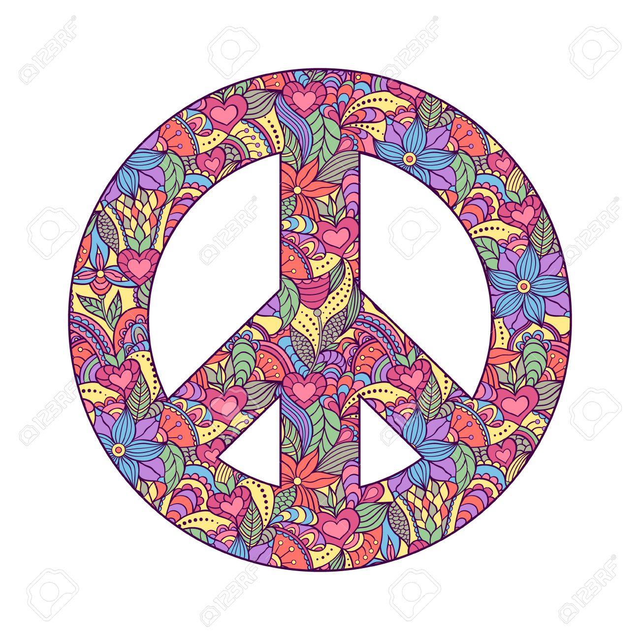 Illustration Of Colorful Peace Symbol On White Background