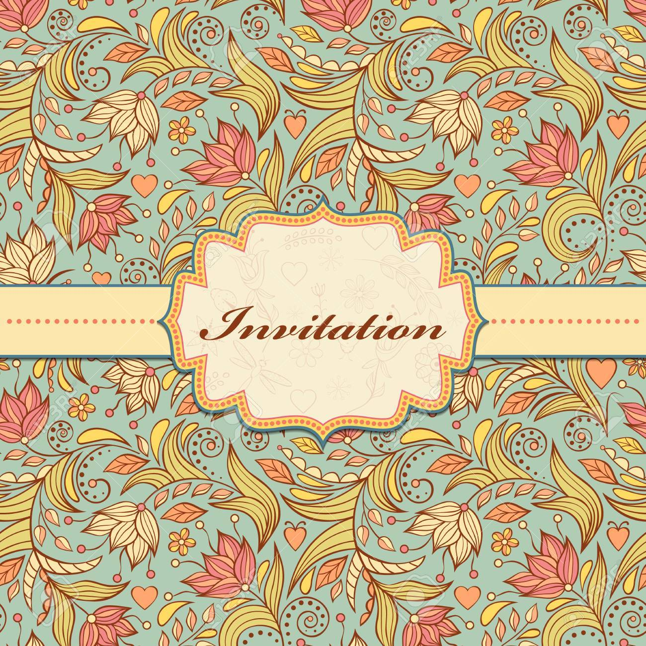 Vector illustration of colorful floral invitation card   or place your text Stock Vector - 24019595