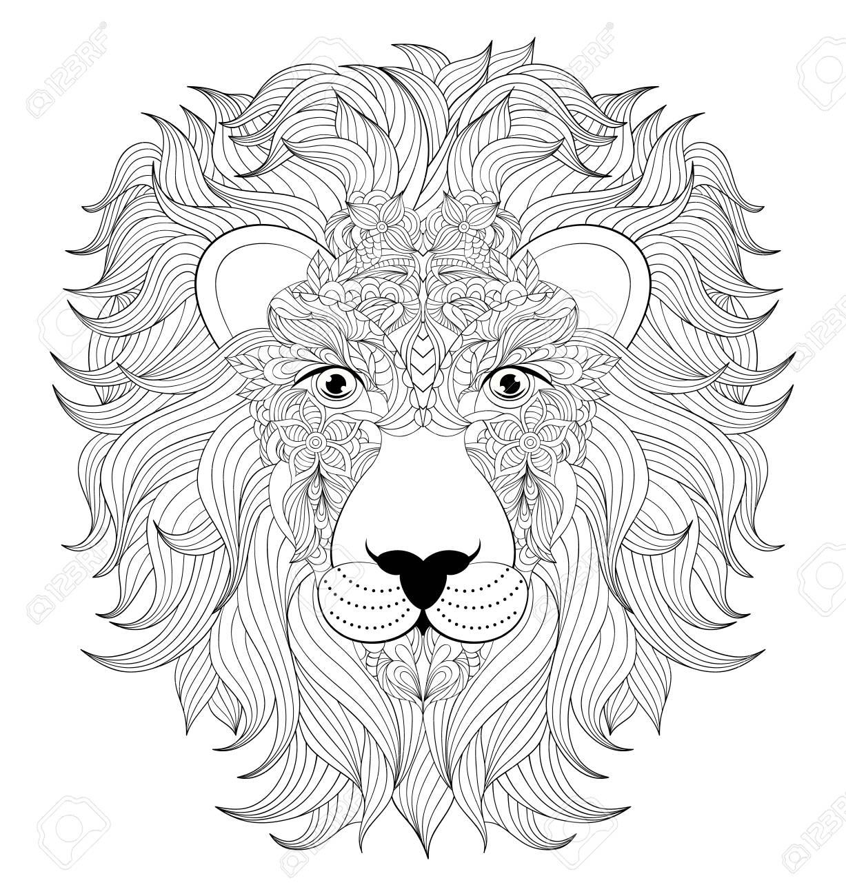 Illustration der bunten Kopf des Löwen auf weißem Hintergrund. Malvorlage  für Erwachsene.