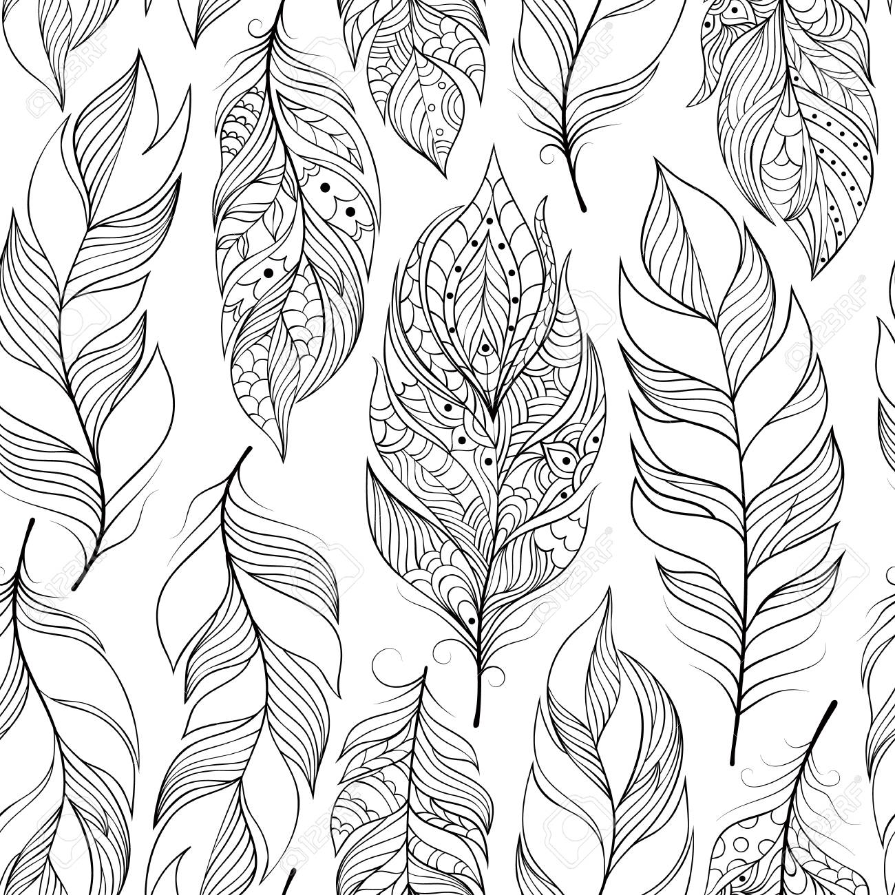 Illustration Of Seamless Pattern With Abstract Feathers Coloring