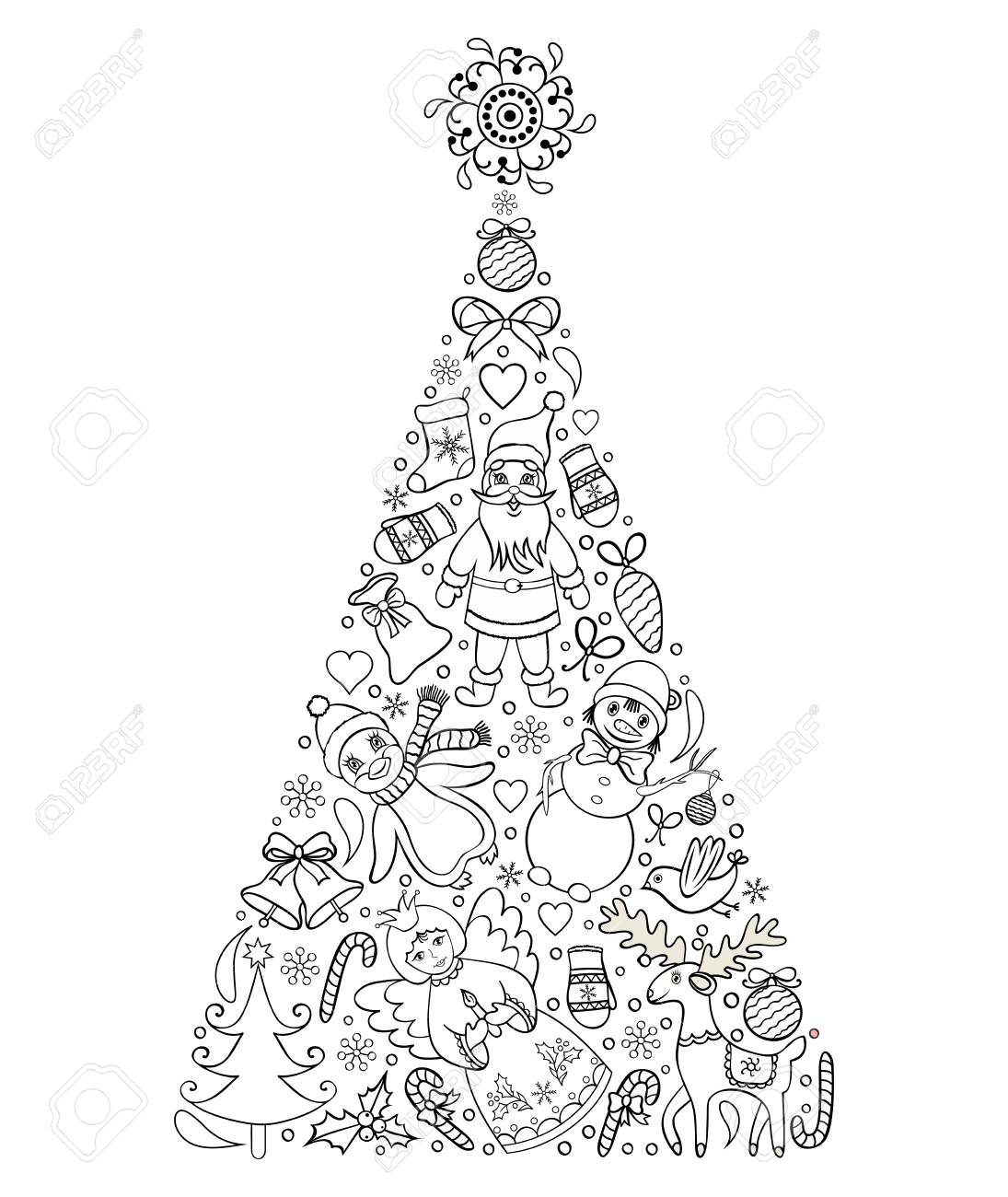 Vector Illustration Of Hand Drawn Christmas Tree Coloring Page