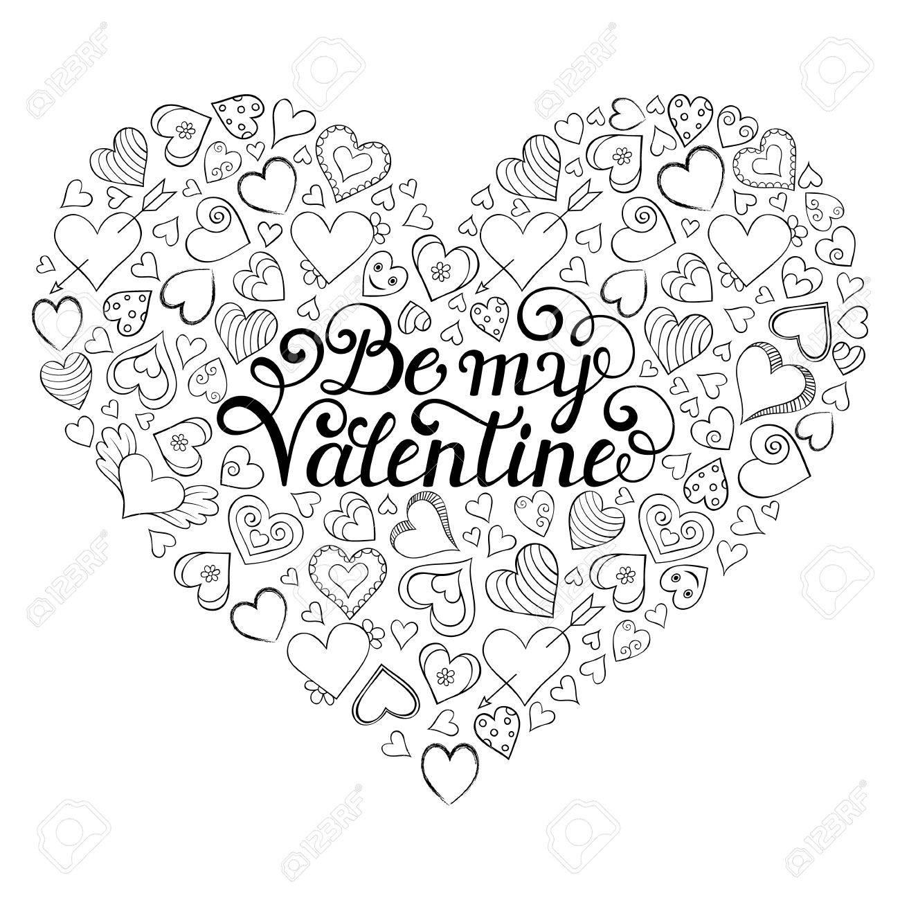 Bunte Valentinstag Karte Mit Herzen Und Be My Valentine Inschrift