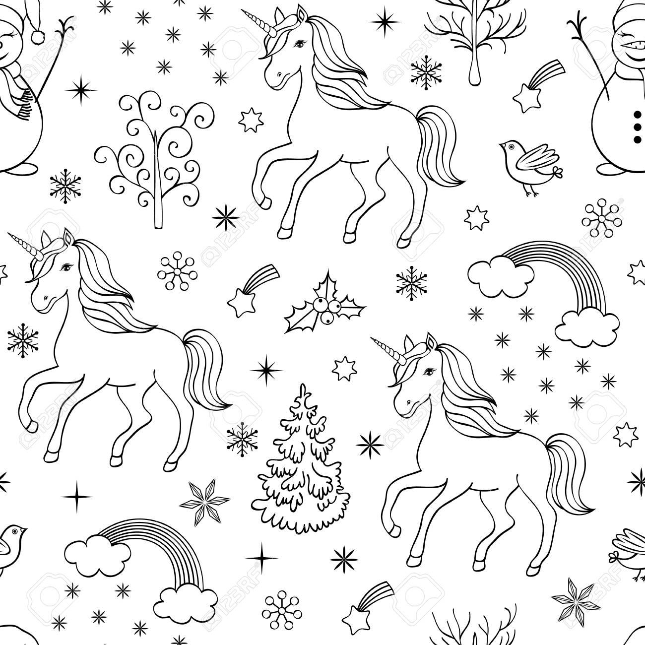 Christmas Seamless Pattern With Unicornstreesbirdssnowmen On White Backgroundcoloring