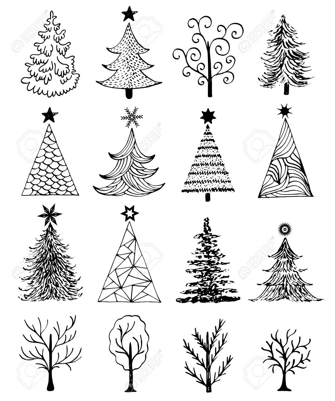 Conjunto De rbol De Navidad Dibujado Mano Sobre Fondo Blanco