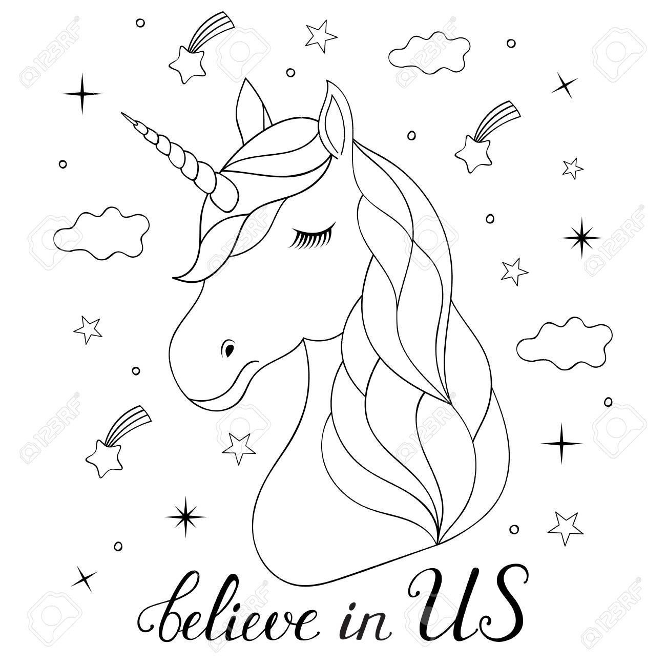 Jefe De Dibujado A Mano Unicornio Sobre Fondo Blanco. Página Para ...