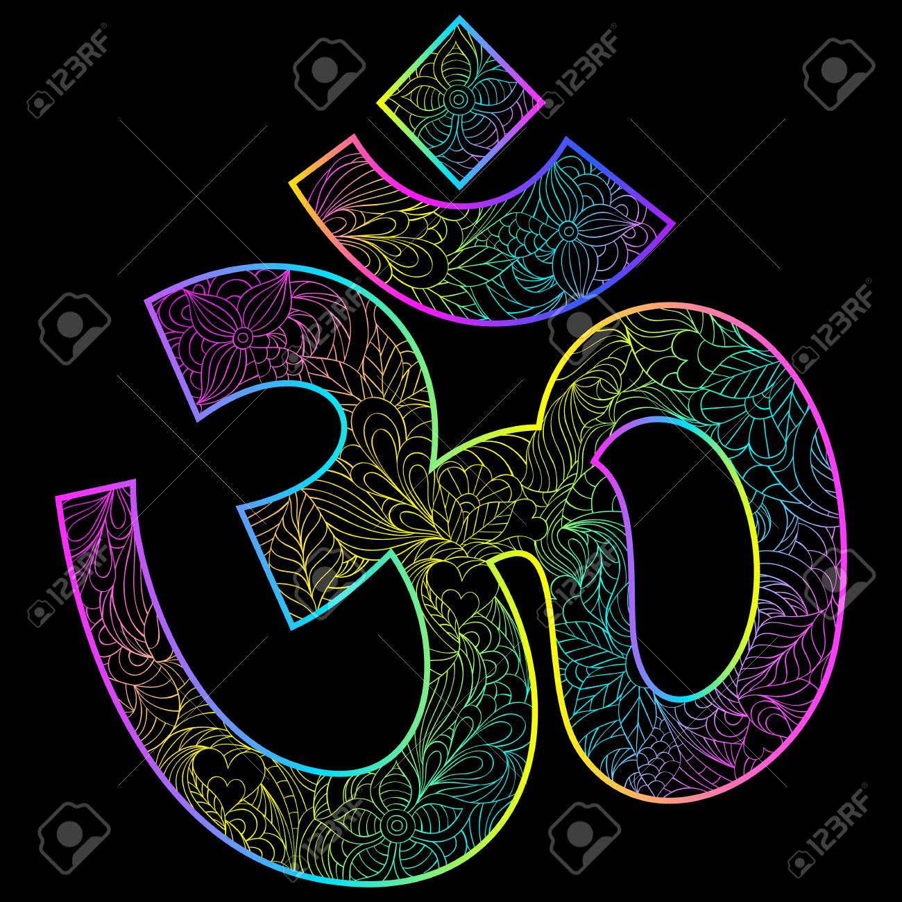 Om Symbol On Black Background Royalty Free Cliparts Vectors And