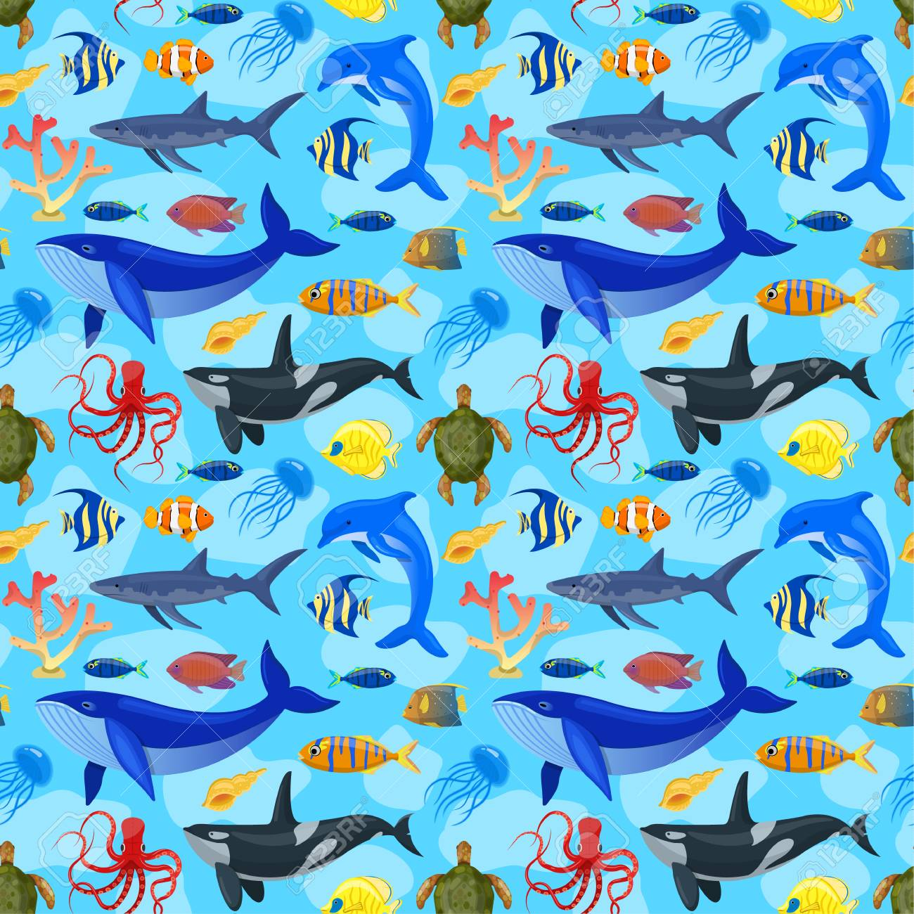 Image of: Kids Seamless Pattern With Ocean Animals On Blue Background Stockfoto 108073634 123rf Seamless Pattern With Ocean Animals On Blue Background Royalty