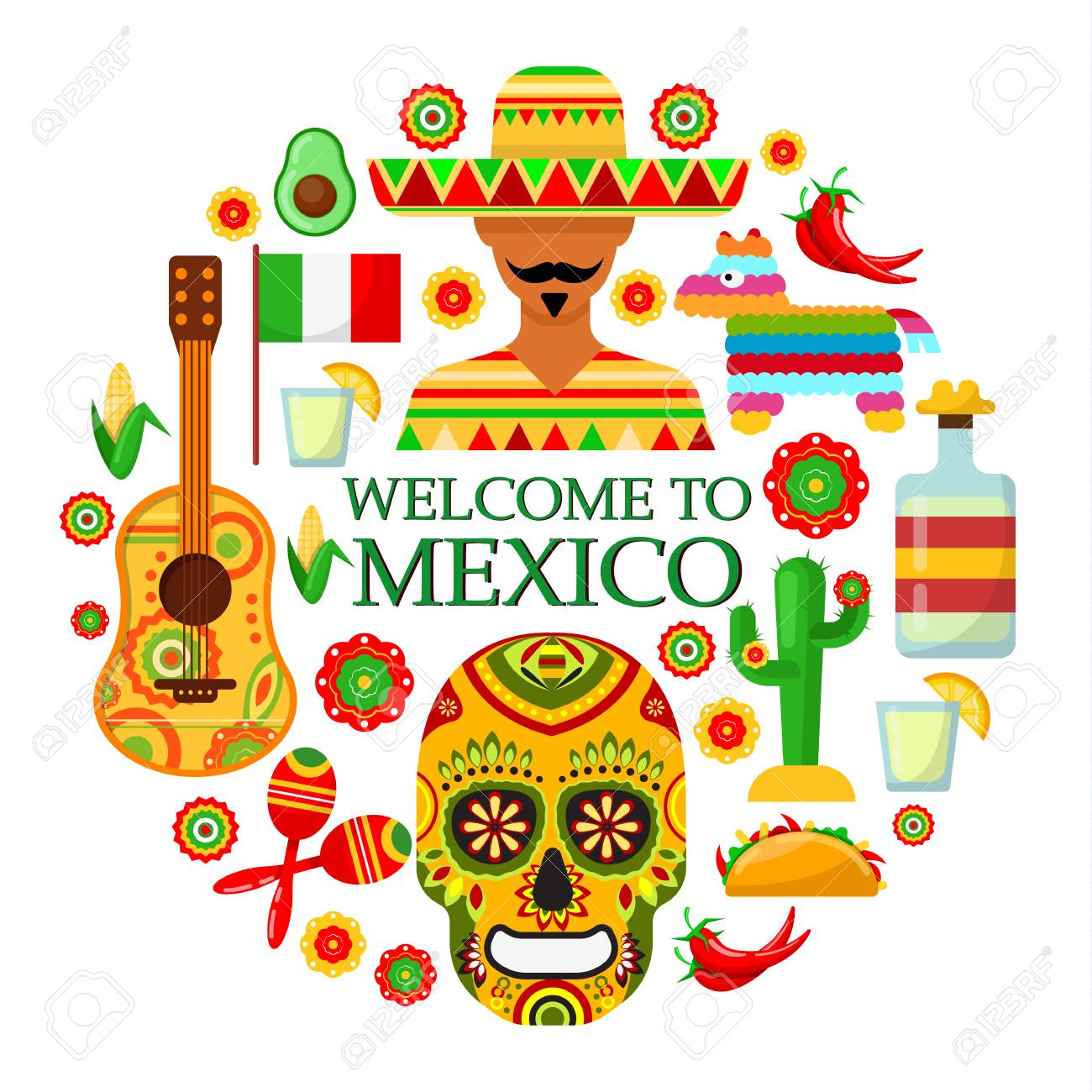 Colorfull traditional Mexican attributes on white background