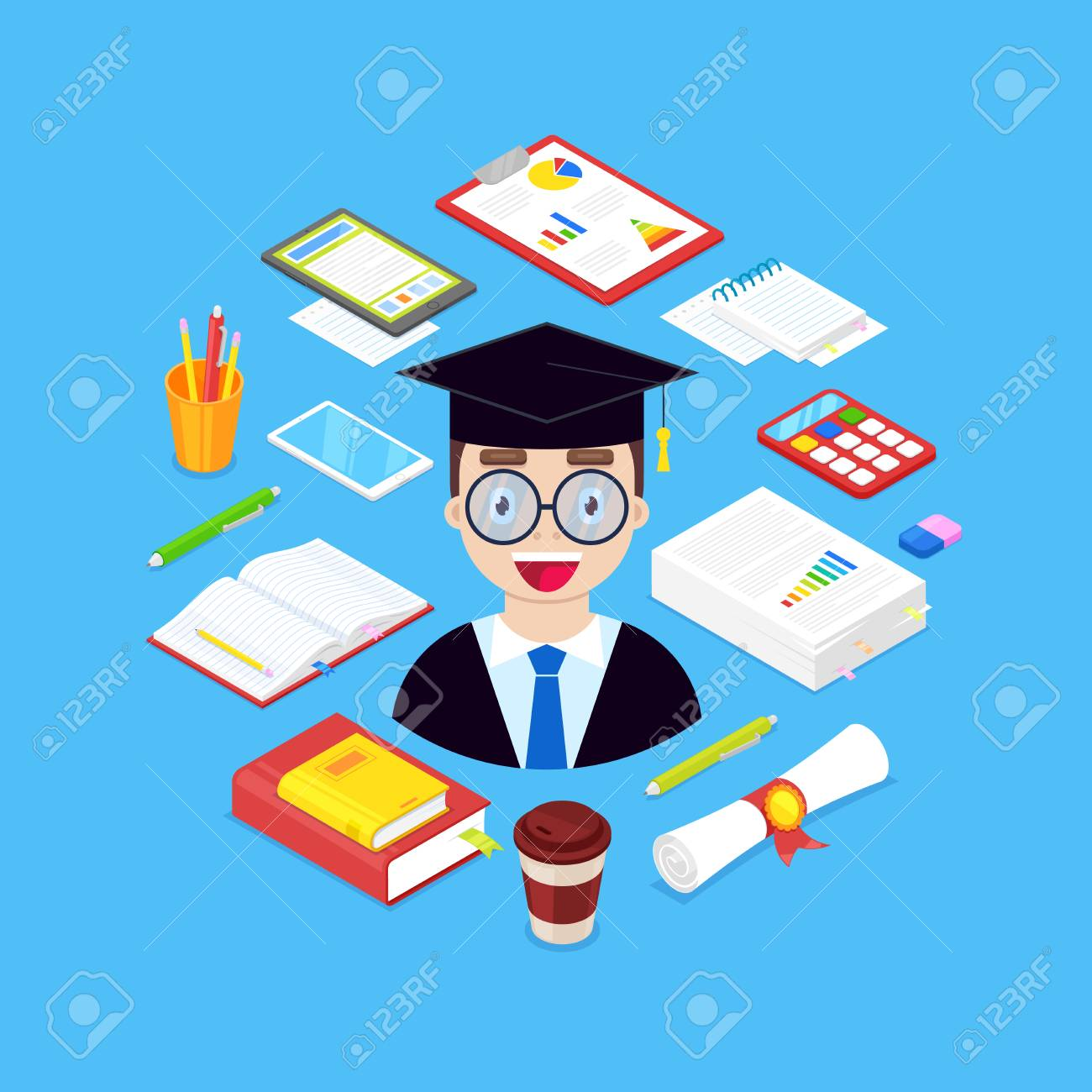 Happy scientist with stationary ,books, pen,pencil,calculator on blue background. - 127234910