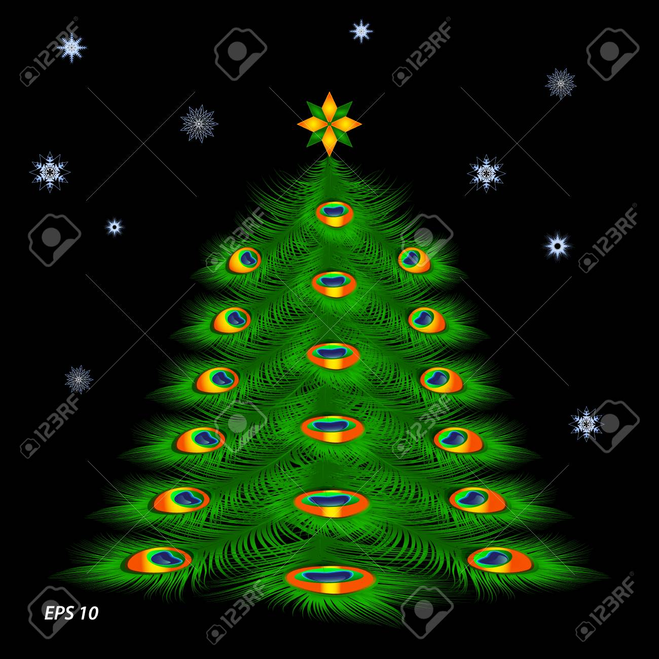 Christmas Tree With Peacock Feathers And Snowflakes On Black Royalty Free Cliparts Vectors And Stock Illustration Image 89165994