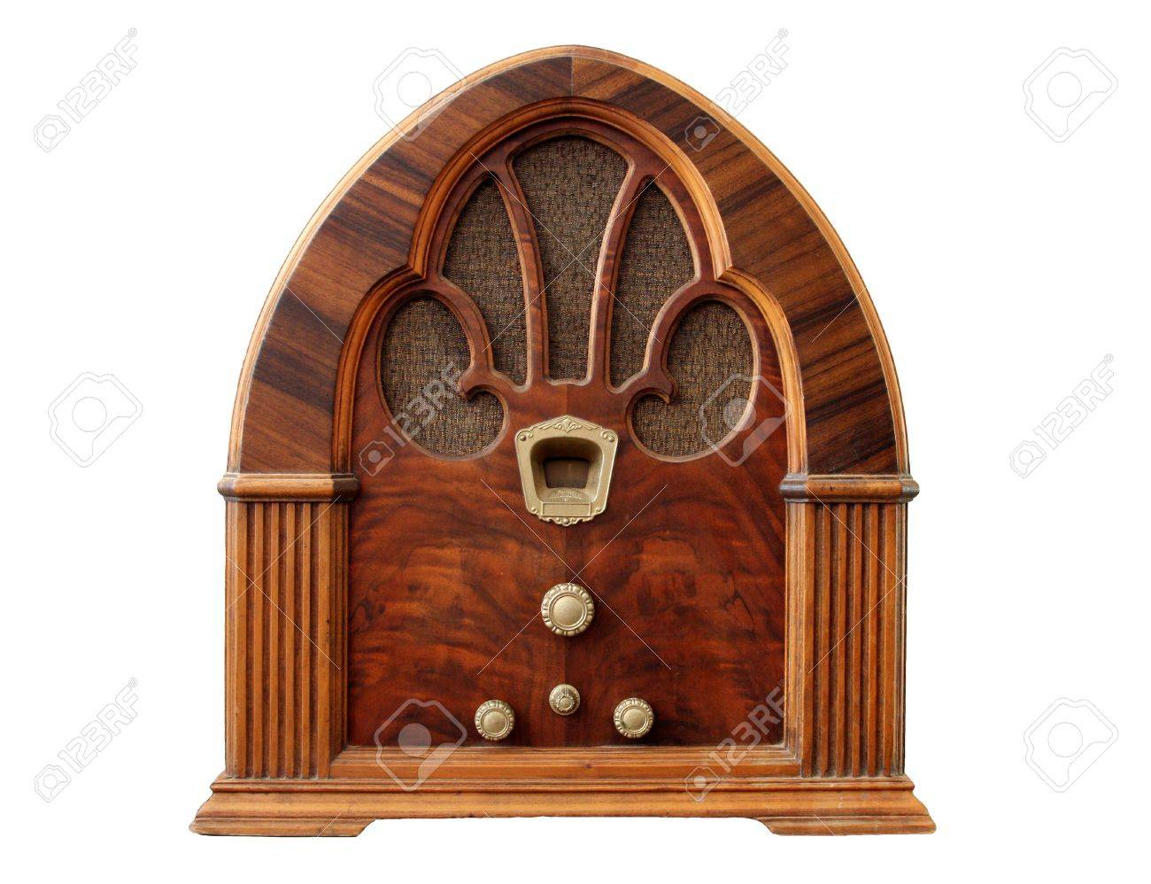 Old wooden table top - Old Tabletop Wooden Radio With White Background Stock Photo 2564462