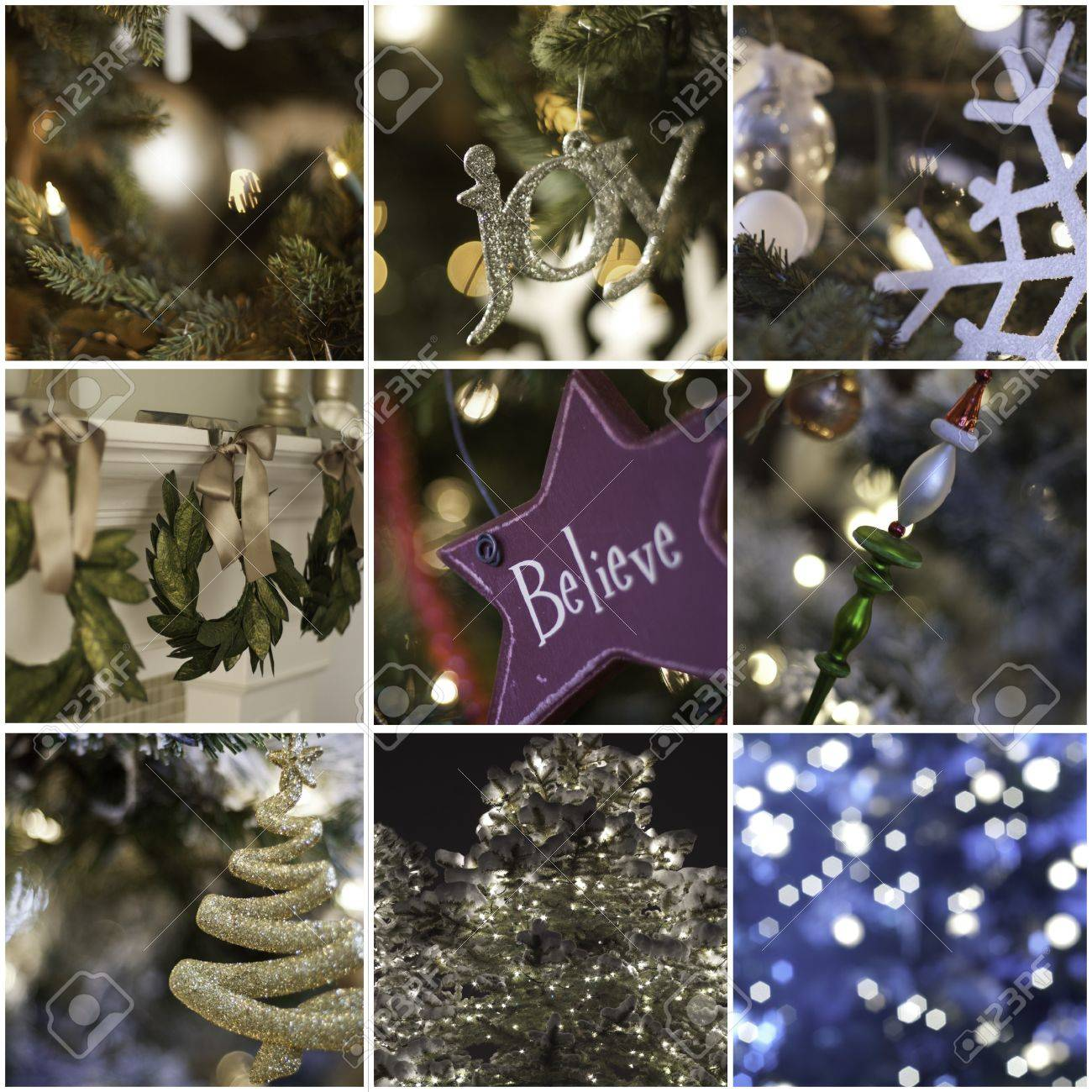 nine pictures in collage of christmas time and decorations Stock Photo - 13493842