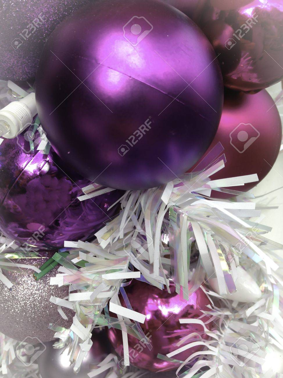 Lavender christmas ornaments - Stock Photo Purple And Pink Ornaments Christmas Time Decorations
