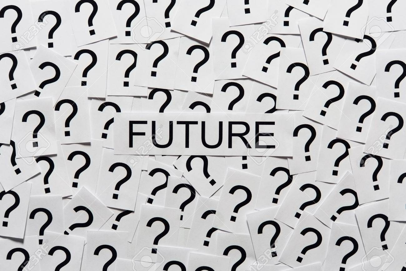 What will happen in the future Many question marks on paper