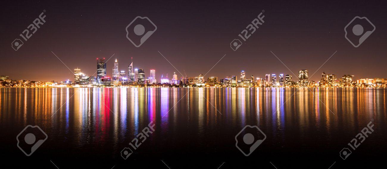Panorama of the cityscape in Perth, Australia. Photo shot at night. Stock Photo - 27864728