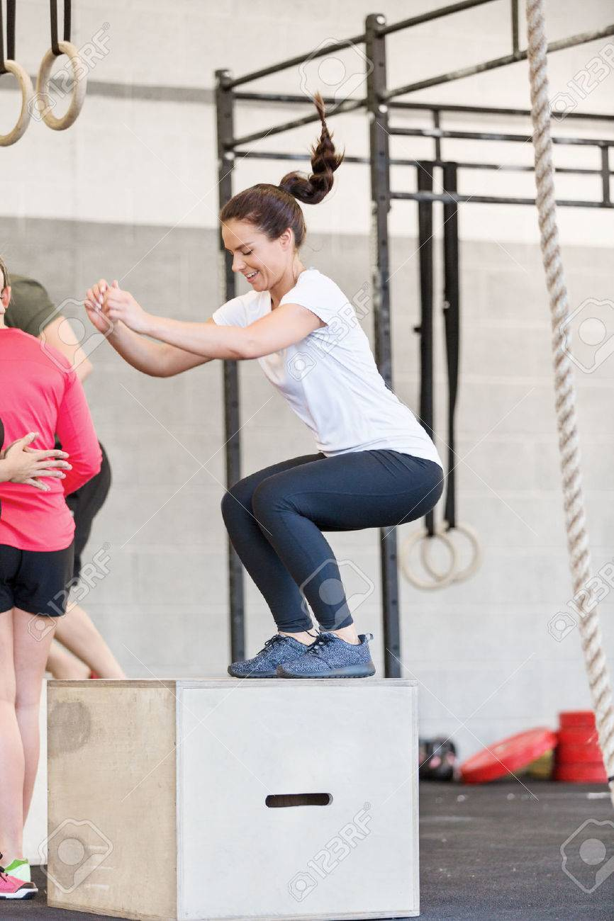Box jump training at cross fit center Stock Photo - 29283234