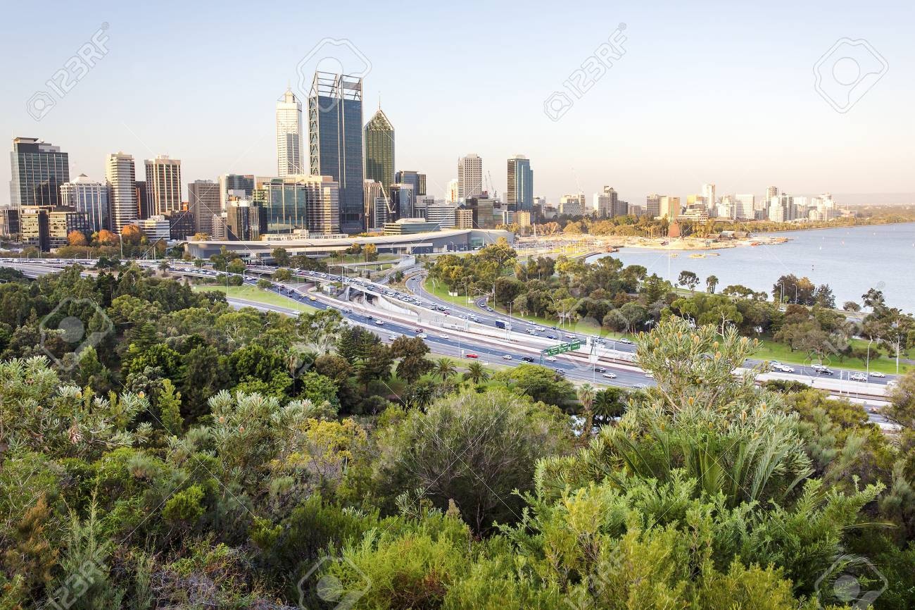 Perth city skyline and main road Stock Photo - 35756524