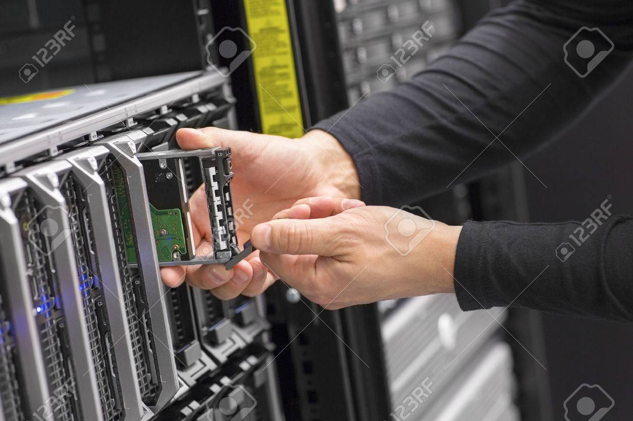 It consultant work on blade server in datacenter Stock Photo - 35870895