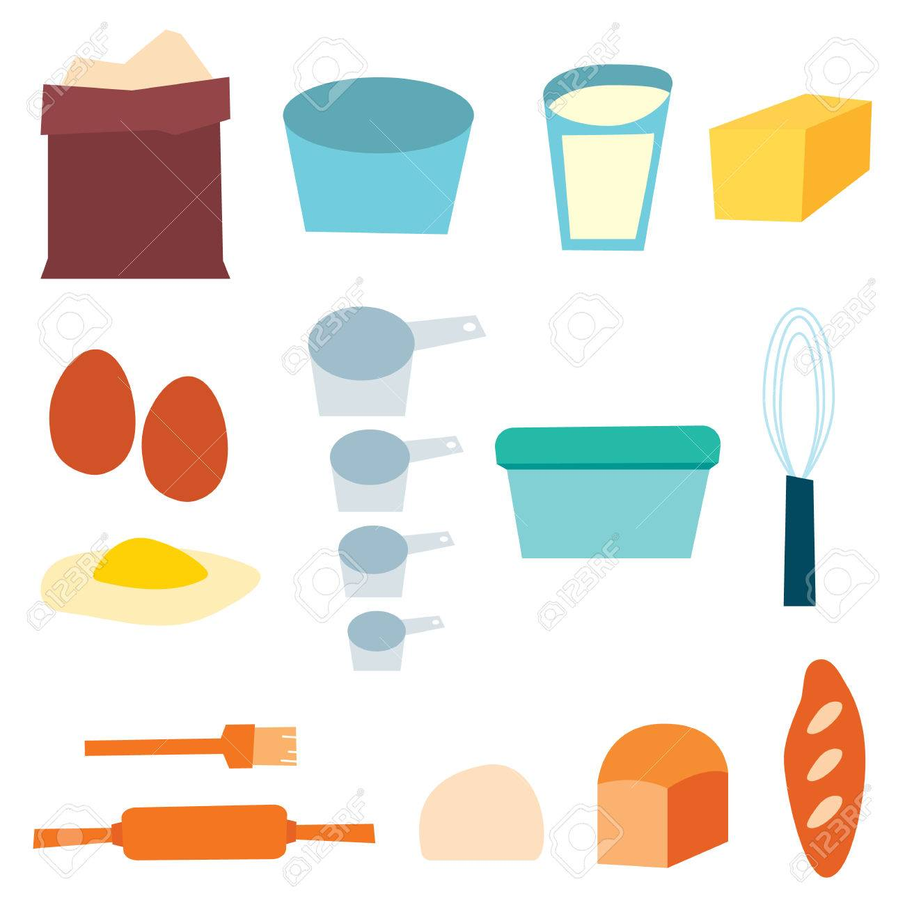 Bread Baking Supplies Vector Illustration Stock