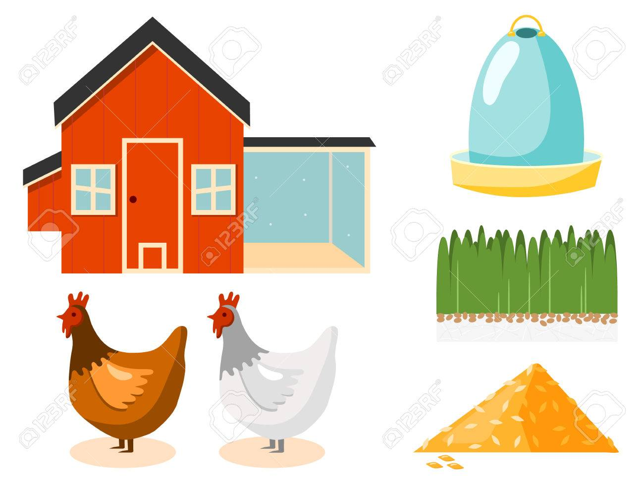 Chicken Coop Vector Illustration Stock