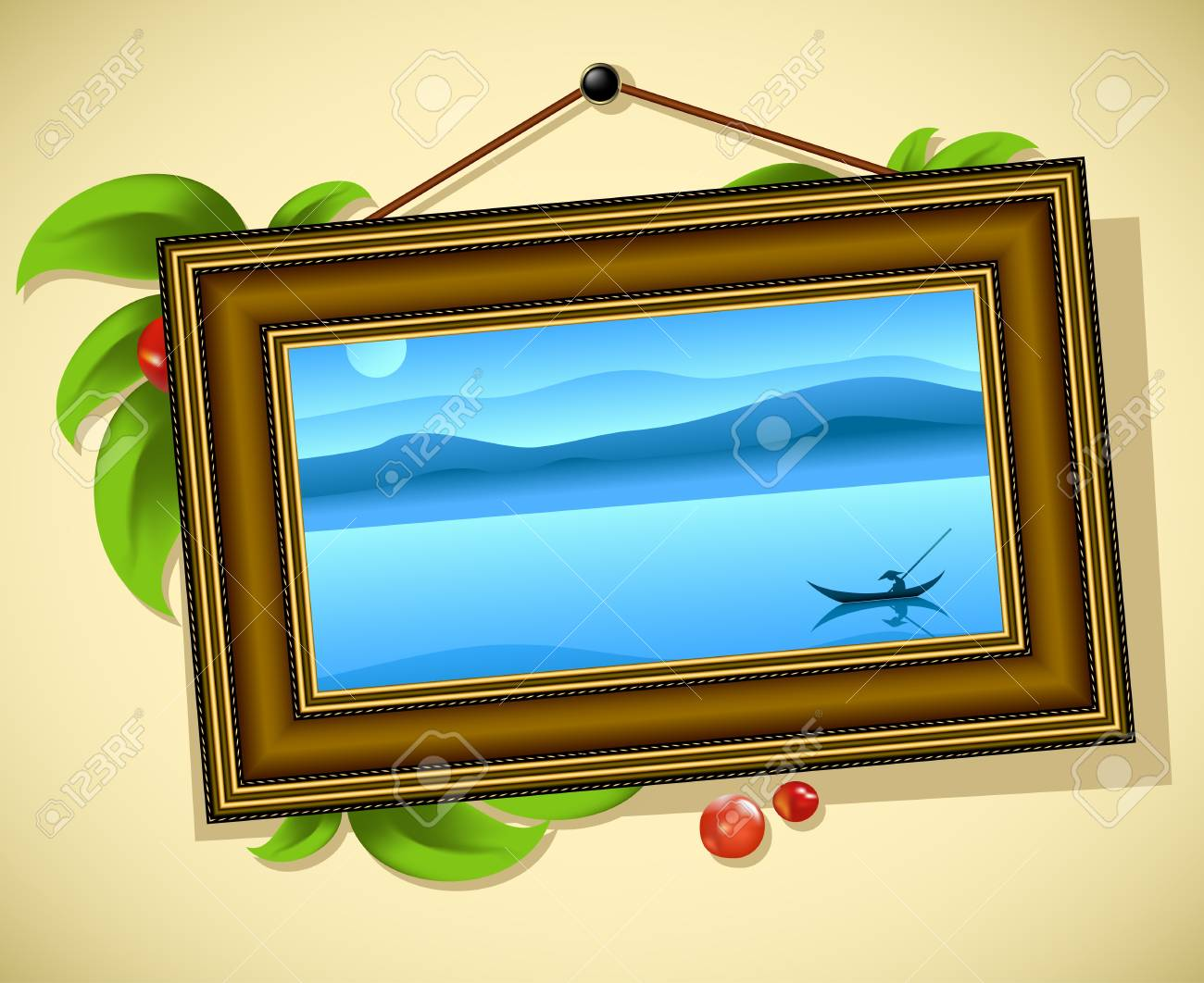 vintage baguette frame with leaves and landscape Stock Vector - 12480763