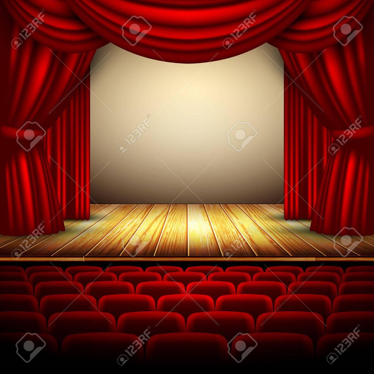 Theater podium met rood gordijn en de houten vloer royalty vrije ...