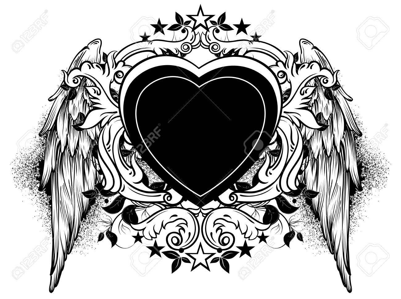 Corazón Negro Adornado Con Remolinos Y Alas Ilustraciones