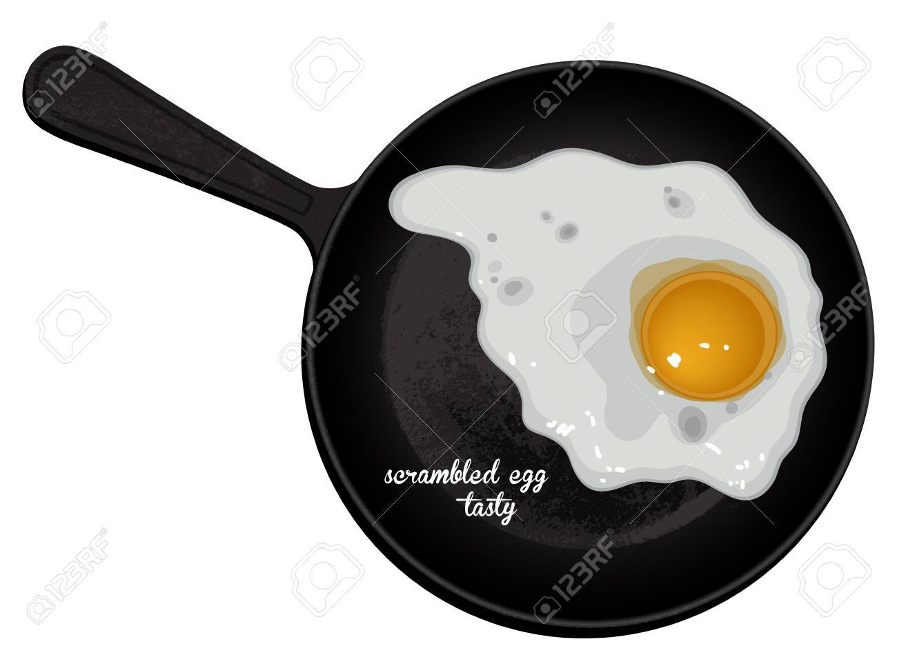 fried egg on a black background, freehand drawing - 60238039