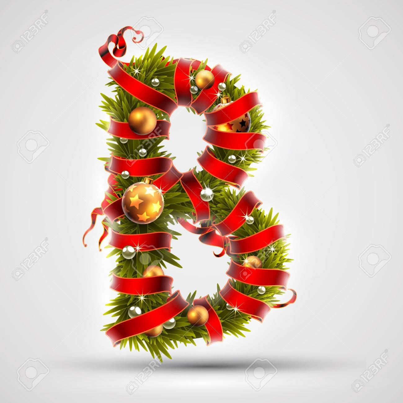 Christmas Font Letter B Of Christmas Tree Branches Decorated