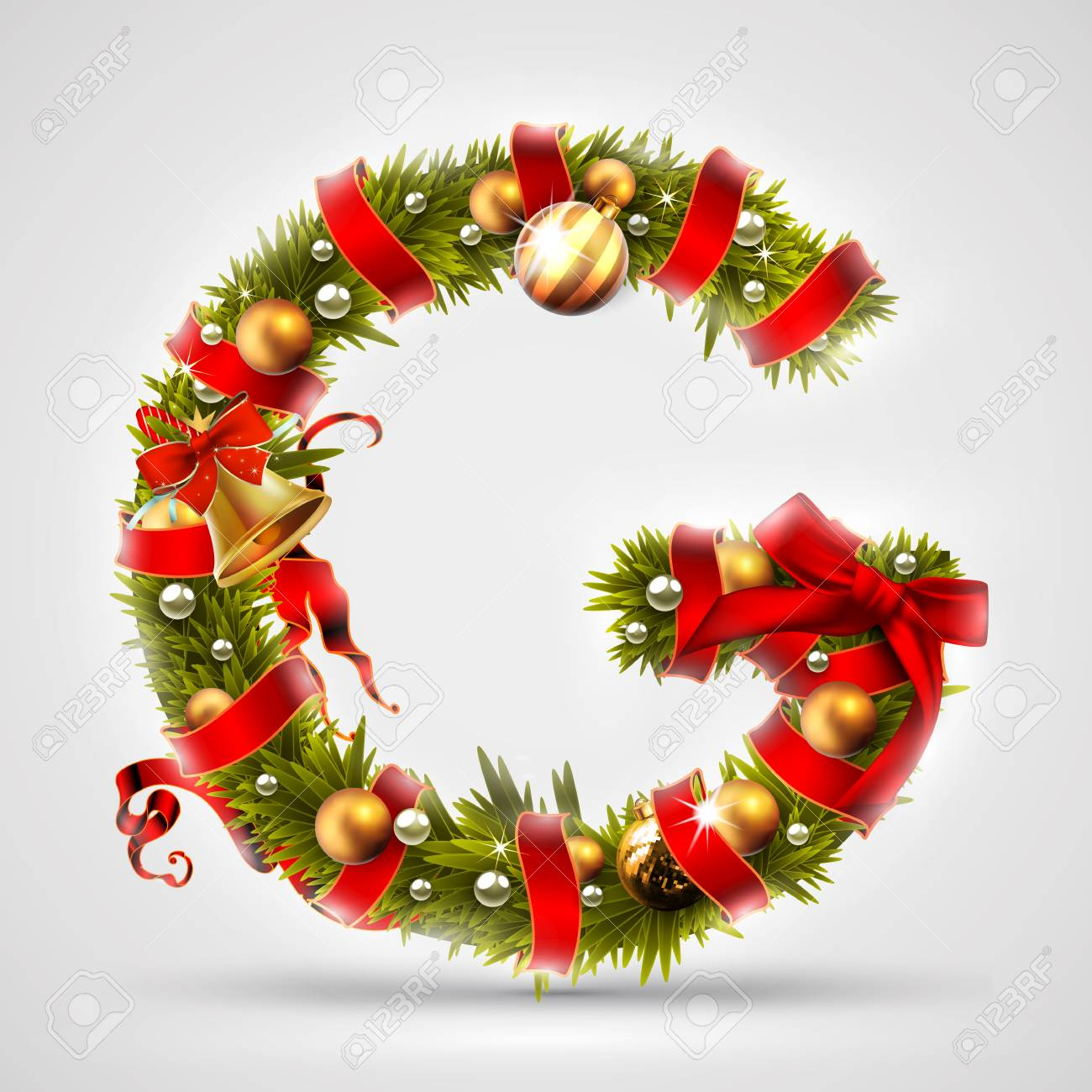 Christmas Font Letter G Of Christmas Tree Branches Decorated