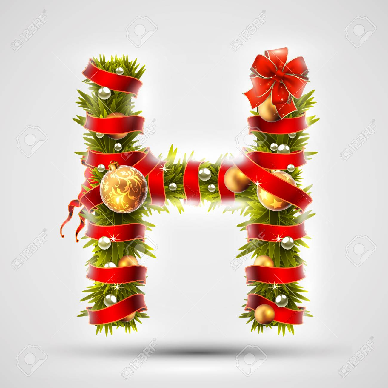 556107df05595 Christmas Font. Letter H Of Christmas Tree Branches