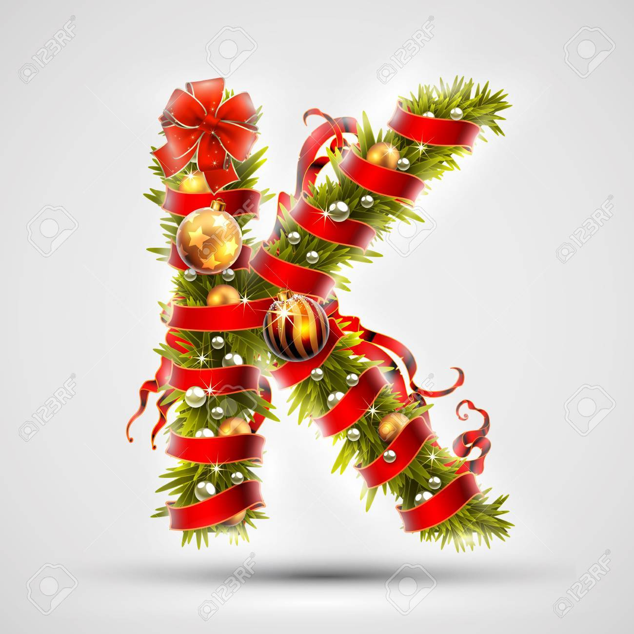Christmas Font Letter K Of Christmas Tree Branches Decorated