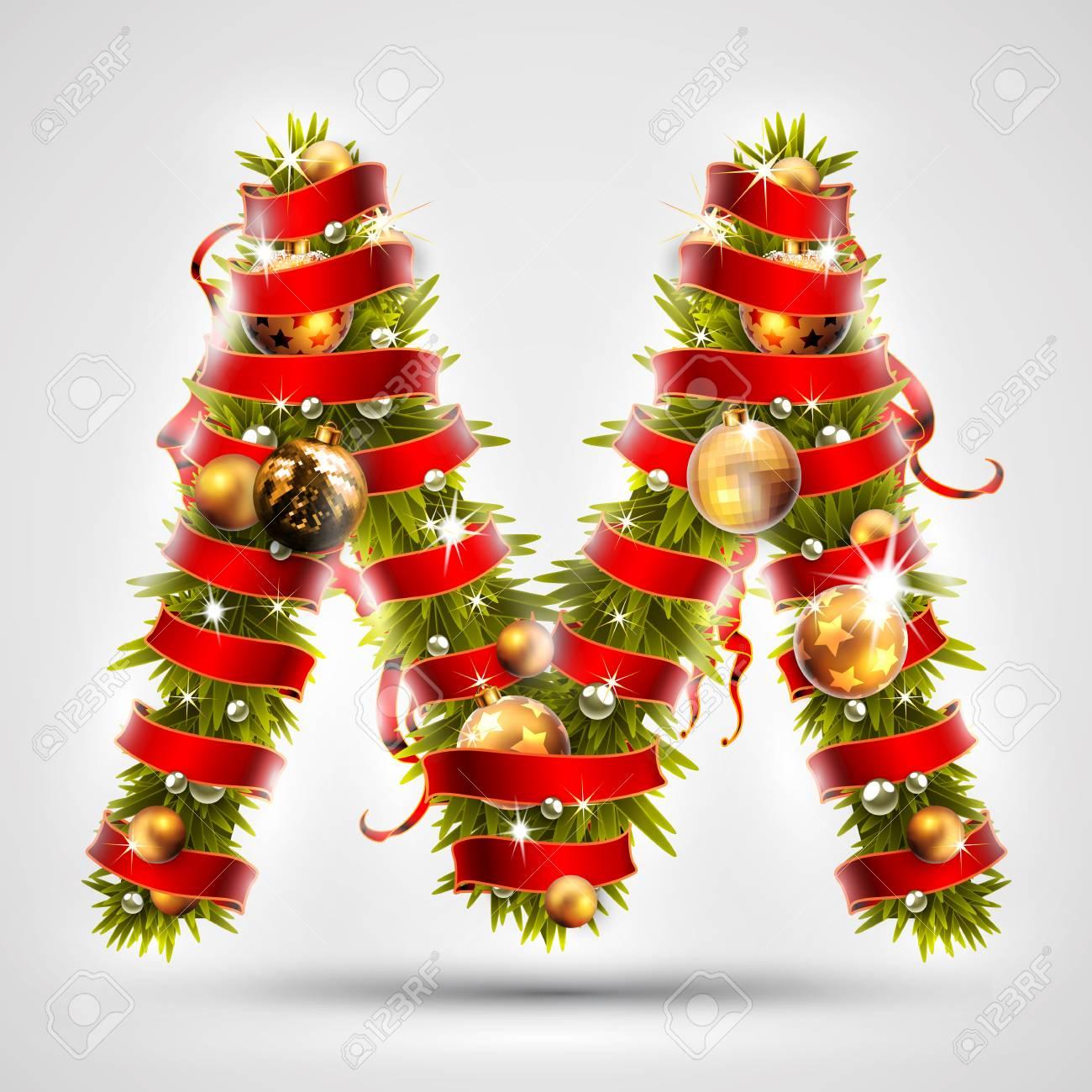 finest fuente de navidad letra m de ramas de rboles de navidad decorado con una with rboles de navidad decorados with imagenes arboles de navidad decorados - Rboles De Navidad Decorados