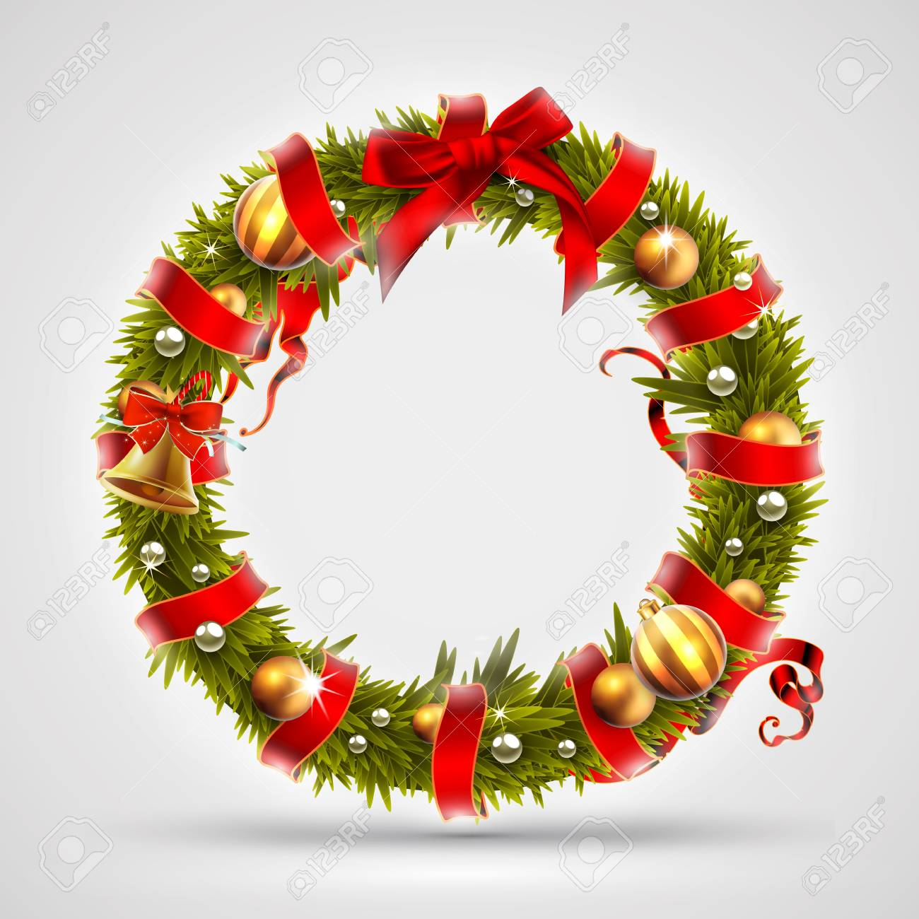 Christmas Font Letter O Of Christmas Tree Branches Decorated