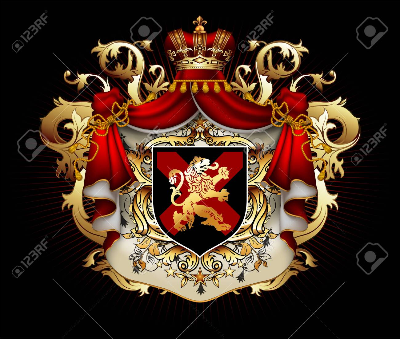 Heraldic background with a red ermine royal mantle with a crown and shield. 3D vector. High detailed realistic illustration - 129732282