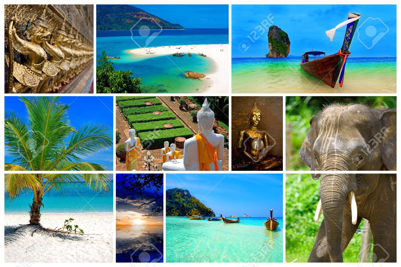 Collage Of Pictures From The Beauty Thailand Stock Photo