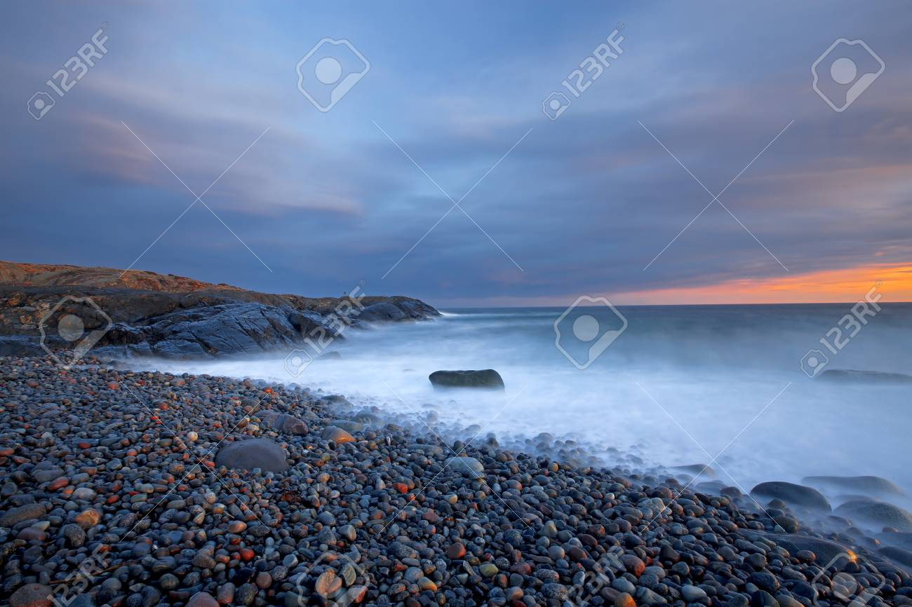 Sunset in wintertime at the Norwegian coast, Moelen Stock Photo - 12786305