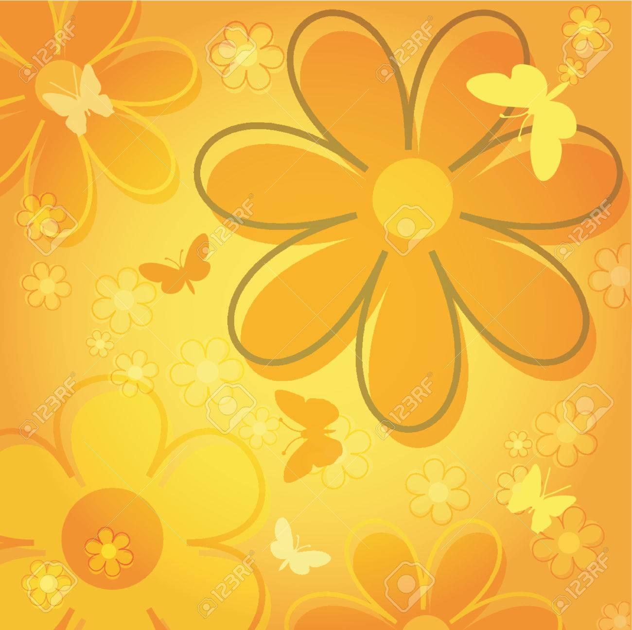 Flowers and butterflies - vector Stock Vector - 441418
