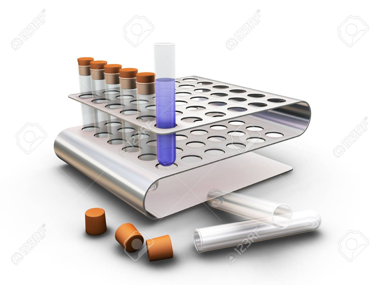 Test tubes in rack - 3D render Stock Photo - 466646