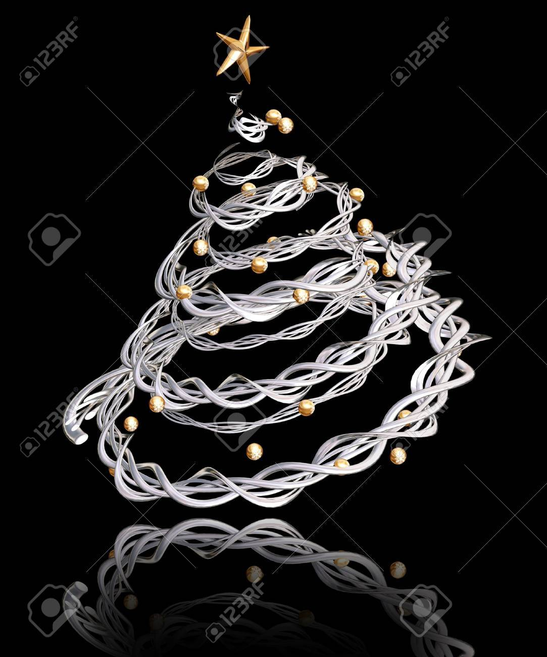 3D render of a twisted metal Christmas tree Stock Photo - 511998
