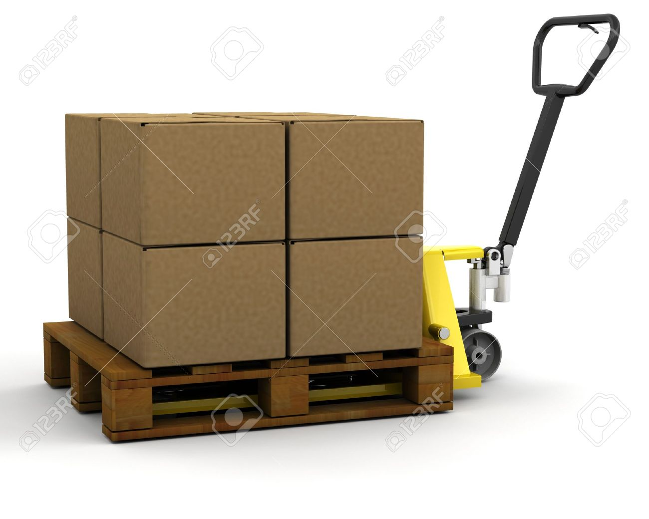 3D render of a pallet truck stacked with boxes Stock Photo - 3083478