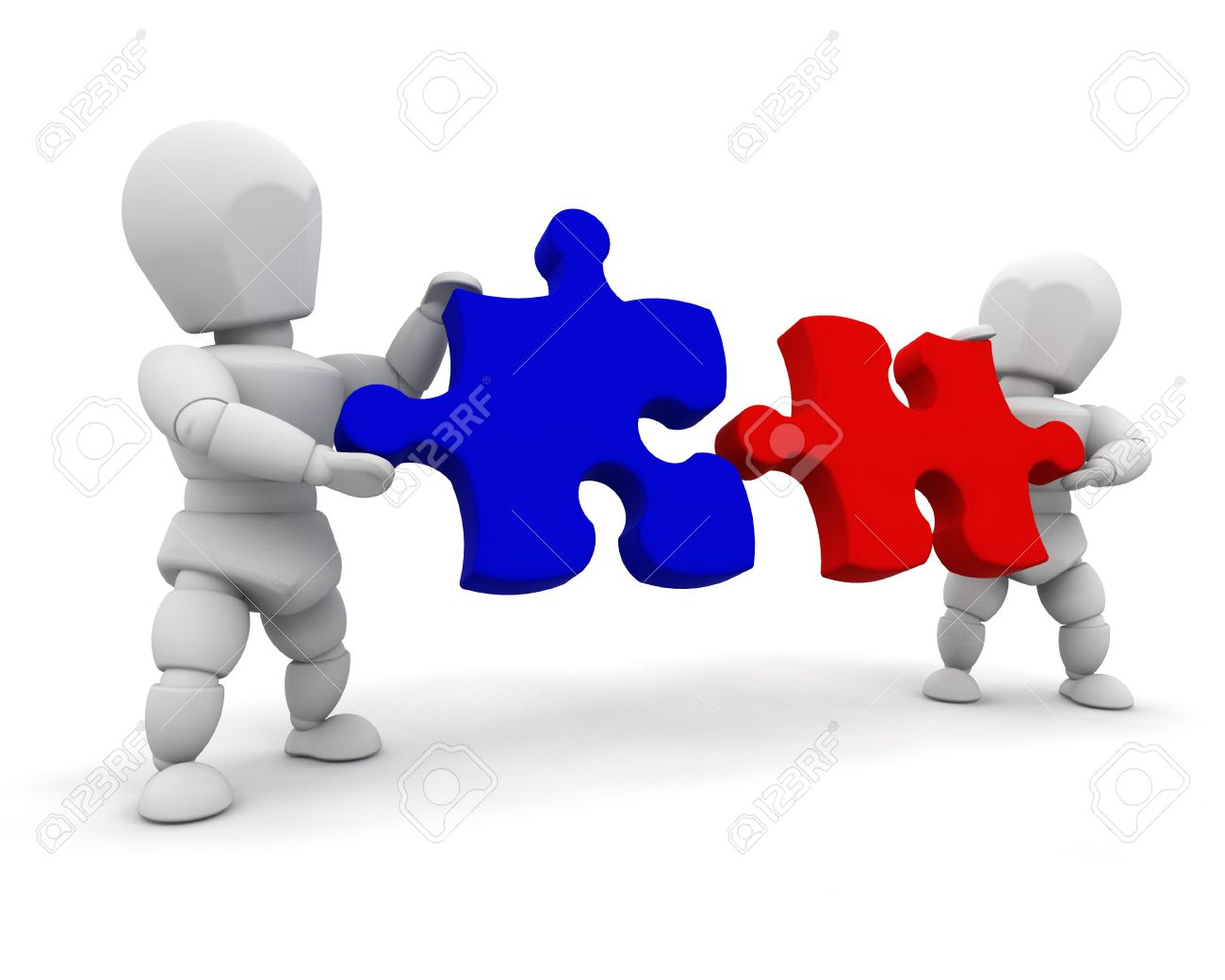 3d render of people connecting puzzle pieces stock photo picture