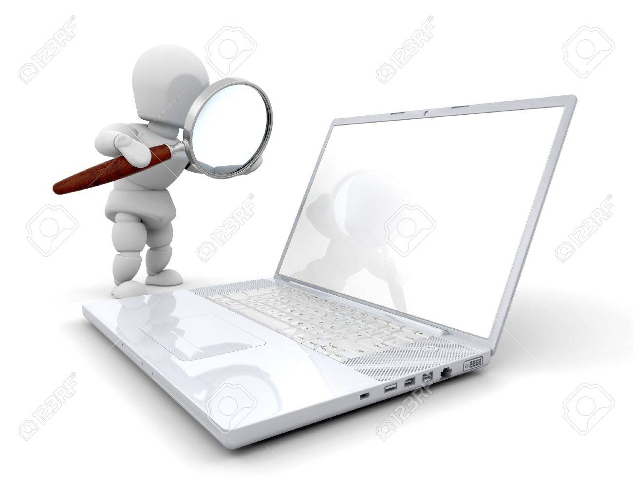 3D Render Of Someone Looking At A Computer Through A Magnifying ...