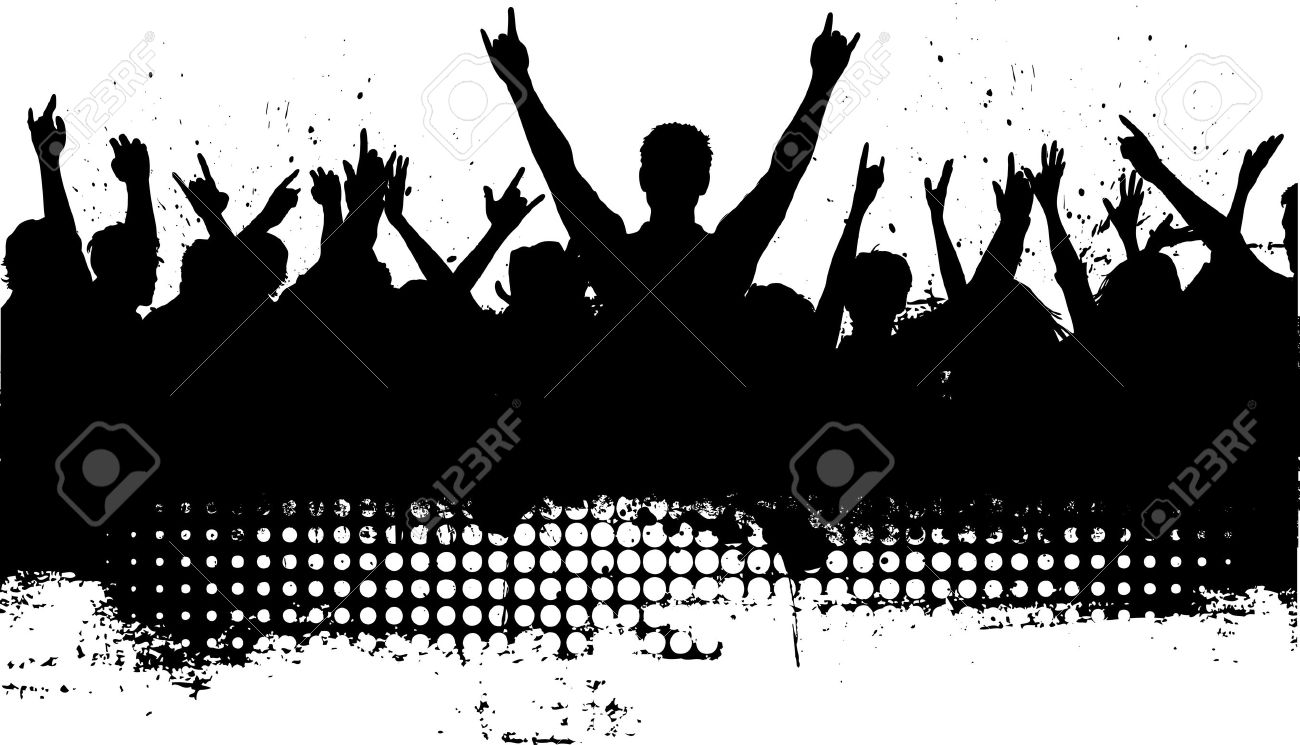 Silhouette of a crowd with grunge effect added - 3266241