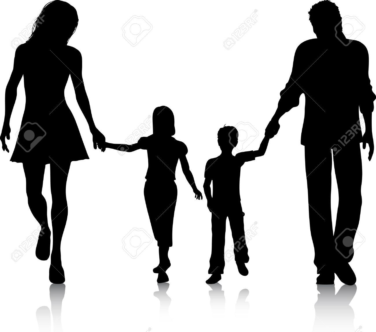 手をつないで歩いて家族のシルエット ロイヤリティフリークリップアート