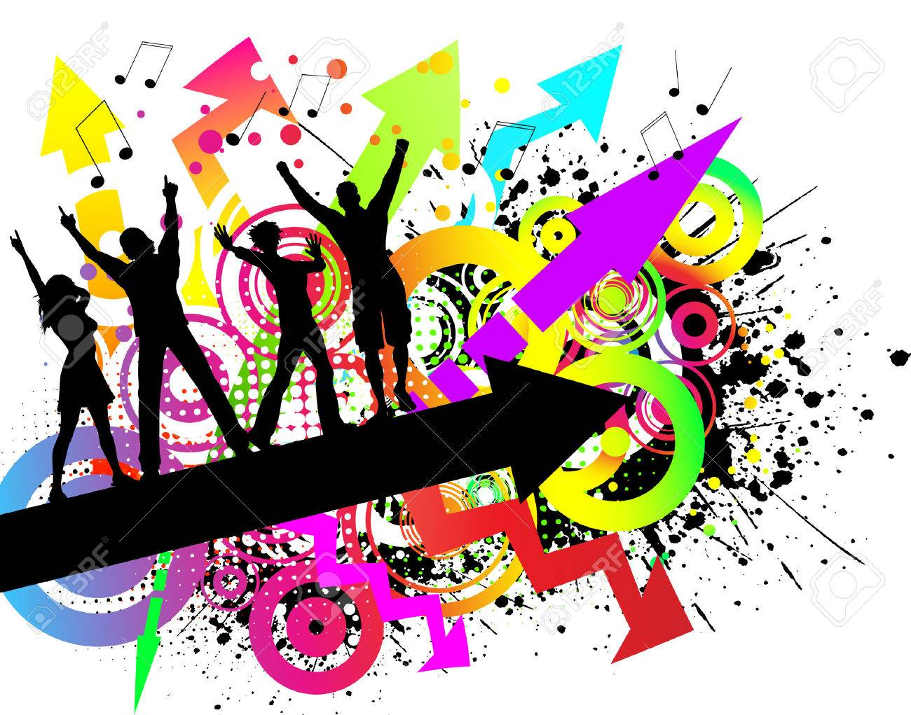 People Dancing On Colourful Grunge Background Royalty Free ...