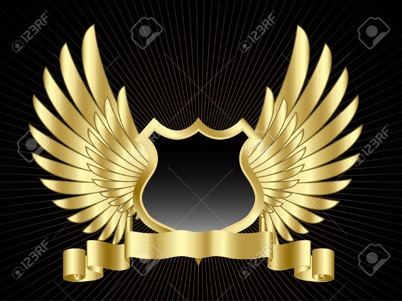 Wings Shield Scrolls Shield With Wings And Gold